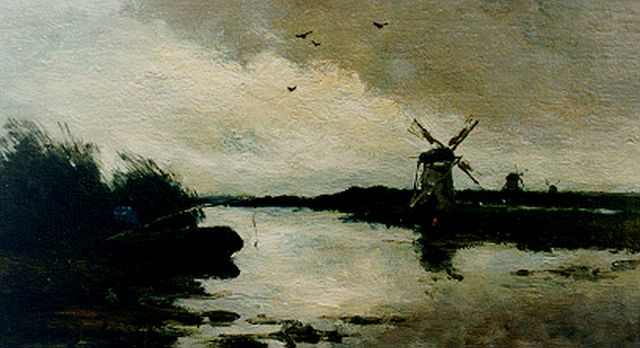Jan Hendrik Weissenbruch | Angler in a polder landscape, oil on panel, 16.2 x 29.1 cm, signed l.l.