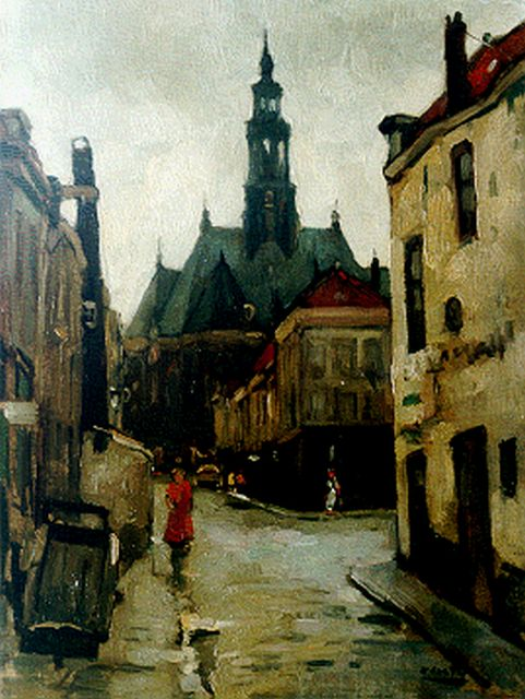 Cor Noltee | View of The Hague, with the Nieuwe Kerk beyond, oil on canvas, 40.0 x 30.3 cm, signed l.r.