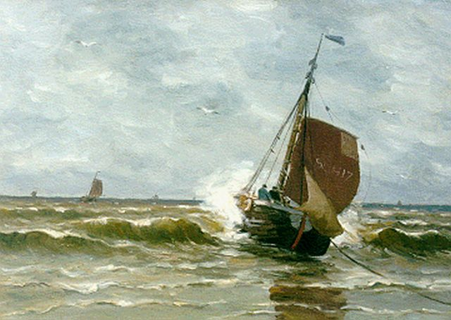 Munthe G.A.L.  | The arrival of the 'Scheveningen 17', oil on canvas 50.0 x 70.2 cm, signed l.r. and dated 1921