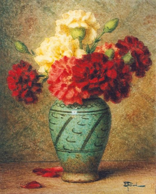 Ernest Filliard | Still life with carnations in a vase, watercolour on paper, 35.7 x 28.7 cm, signed l.r.