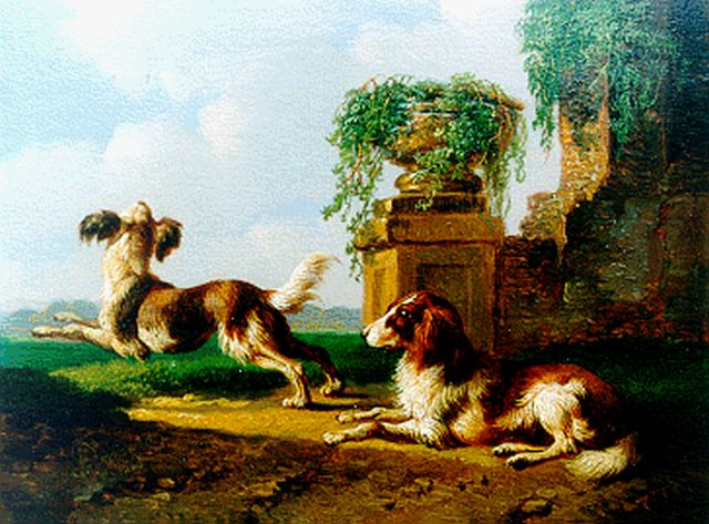 Albertus Verhoesen | Two dogs in a classical landscape, oil on panel, 11.2 x 14.8 cm, signed l.l. and dated 1865