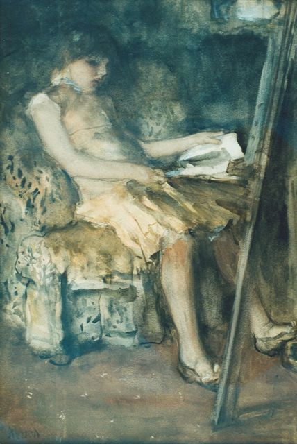 Jacob Maris | The daughter of the painter, watercolour on paper, 43.0 x 30.0 cm, signed l.l.
