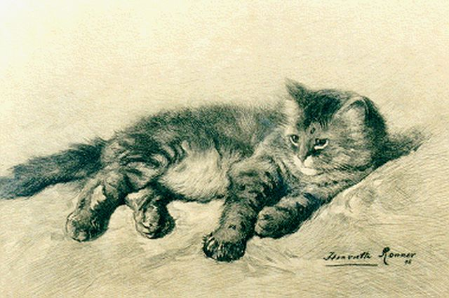 Henriette Ronner-Knip | A kitten, etching on paper, 19.5 x 28.0 cm, signed l.r. and dated '96