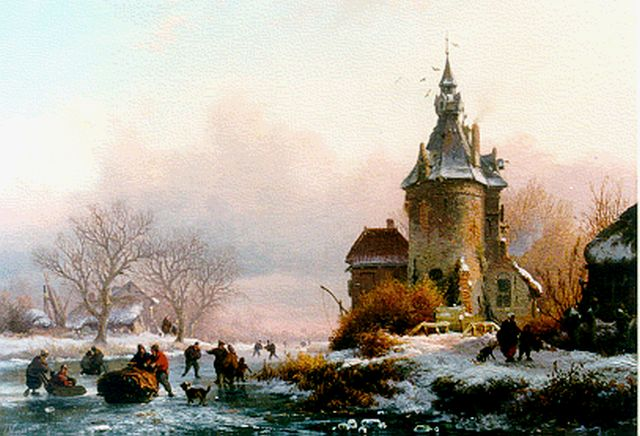 Frederik Marinus Kruseman | Skaters on a frozen waterway, oil on panel, 15.6 x 19.7 cm, signed l.l. and dated 1855