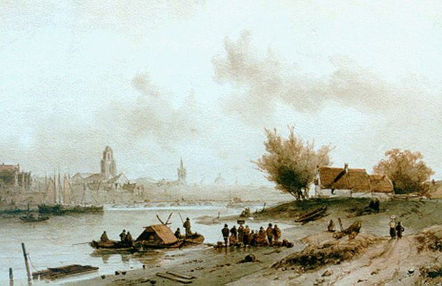 Charles Leickert | A ferry in a river landscape, ink and watercolour on paper, 26.0 x 40.5 cm, signed l.r.