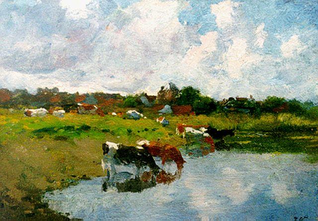 Jan Voerman sr. | Watering cows, oil on panel, 17.7 x 25.3 cm, signed l.r. with initials