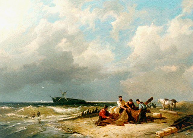 Pieter Cornelis Dommershuijzen | Beachcombers, oil on panel, 27.5 x 38.1 cm, signed l.l. and dated 1882