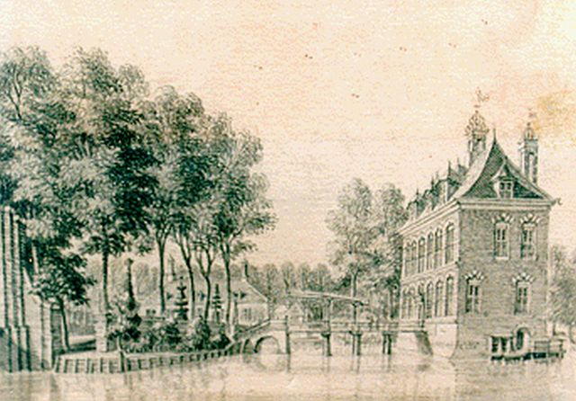 Beijer J. de | A view of 't Huys de Vliet', watercolour on paper 6.9 x 9.9 cm, signed on the reverse