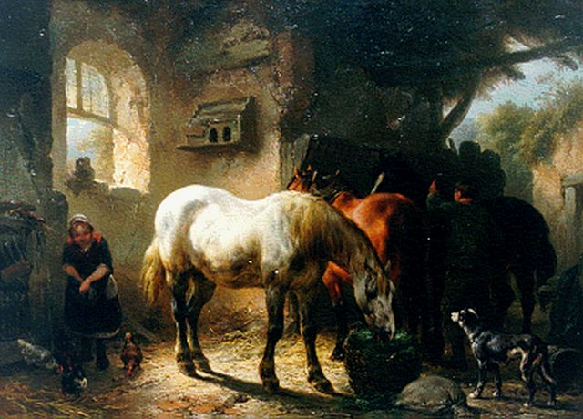 Wouterus Verschuur | Feeding the horses, oil on panel, 31.7 x 43.9 cm, signed l.l.