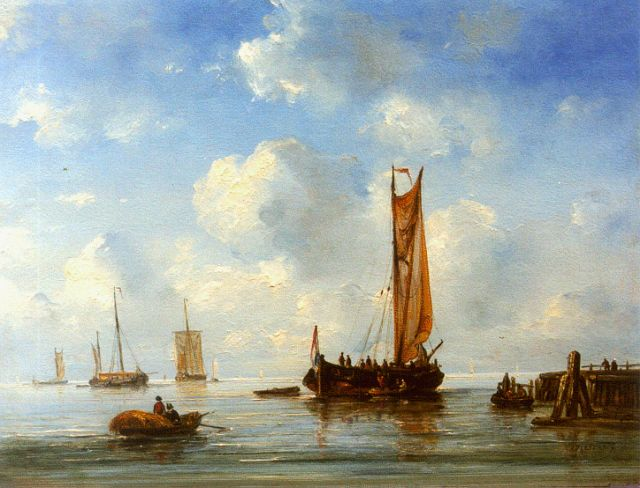 Ary Pleijsier | Shipping in a calm, oil on panel, 31.4 x 41.2 cm, signed l.r.