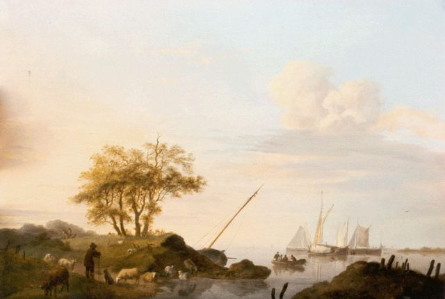 Johannes Hermanus Koekkoek | Vessels in a calm at sunset, oil on panel, 24.6 x 33.3 cm, signed l.r. and dated 1851