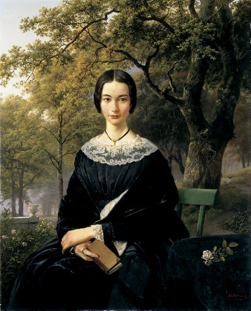 Barend Cornelis Koekkoek | A portrait of an elegant young lady, oil on canvas, 84.7 x 64.0 cm, signed l.r. and dated 1846