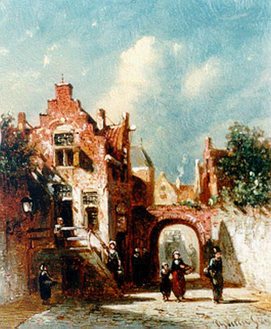 Petrus Gerardus Vertin | Dailiy activities in a sunlit Dutch town, oil on panel, 13.0 x 10.8 cm, signed l.r. and dated '69