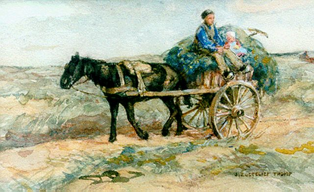 Jan Zoetelief Tromp | Father and child on a haycart, watercolour on paper, 16.8 x 26.3 cm, signed l.r.