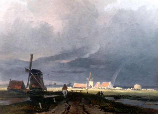 Arnoldus Johannes Eymer | Upcoming storm, oil on panel, 18.1 x 24.8 cm, signed l.r.