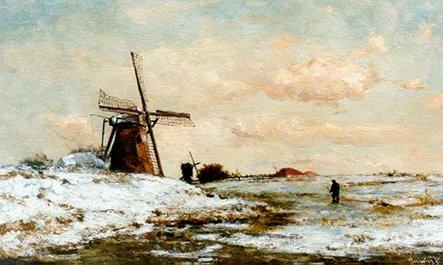Paul Joseph Constantin Gabriel | A traveller in a winter landscape, oil on panel, 34.2 x 56.4 cm, signed l.r. and painted circa 1886