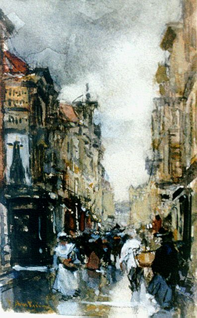 Floris Arntzenius | A view of 'De Spuistraat', The Hague, chalk, watercolour and gouache on paper, 13.8 x 8.7 cm, signed l.l.