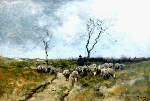 Anton Mauve | A shepherd and flock on the heath, Laren, oil on canvas, 42.9 x 63.8 cm, signed l.r.