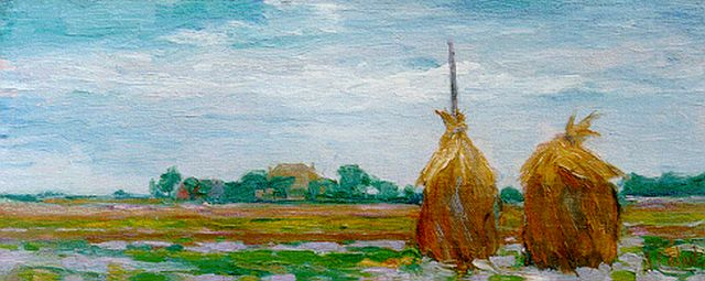 Arnout Colnot | Hay-stacks in a summer landscape, oil on canvas laid down on panel, 16.7 x 41.1 cm, signed l.r.