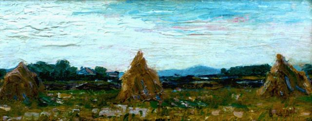 Arnout Colnot | Hay-cocks in a landscape, oil on canvas laid down on panel, 16.7 x 41.1 cm, signed l.r.