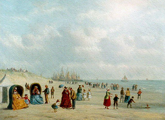 Carl Eduard Ahrendts | Elegant company on the beach, oil on panel, 16.8 x 22.5 cm, signed l.l.
