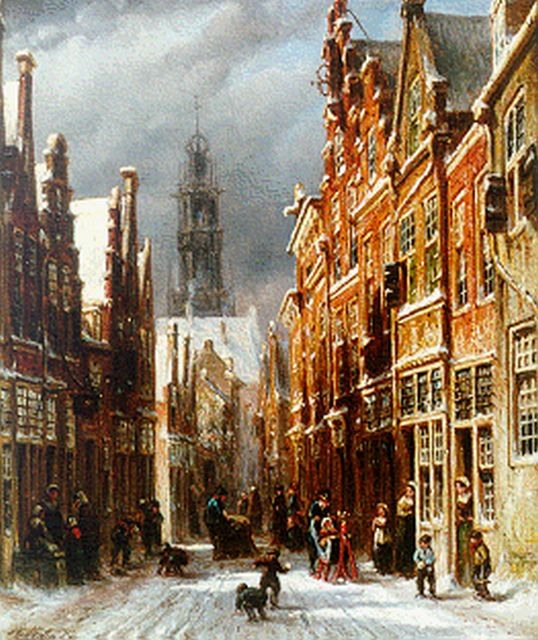 Petrus Gerardus Vertin | A view of Haarlem with the Bakenessekerk beyond, oil on panel, 25.4 x 21.2 cm, signed l.l.