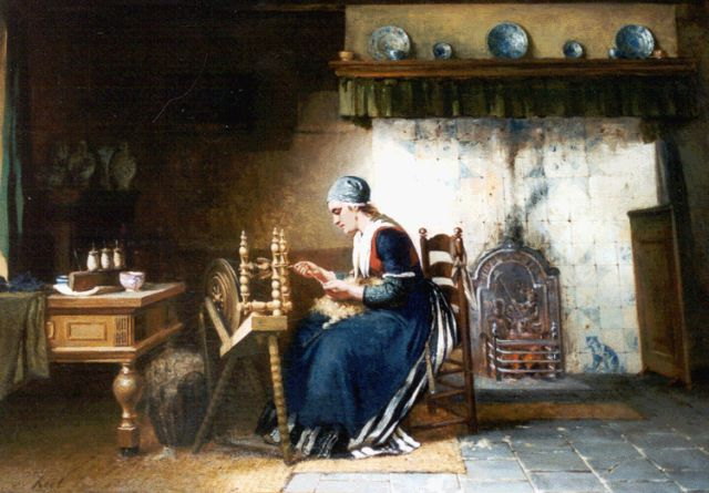 Sipke 'Cornelis' Kool | At the spinning wheel, oil on canvas, 58.8 x 82.4 cm, signed l.l.