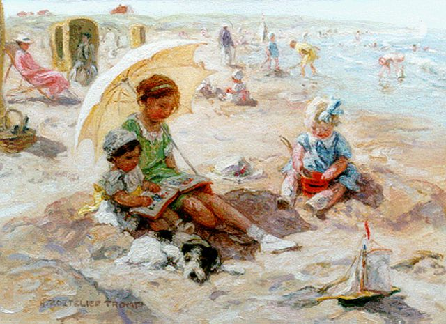 Jan Zoetelief Tromp | Children playing on the beach, oil on canvas, 40.0 x 56.0 cm, signed l.l.