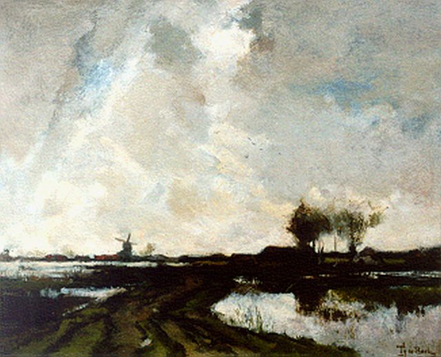 Bock T.E.A. de | A polder landscape, oil on canvas 37.0 x 45.7 cm, signed l.r.