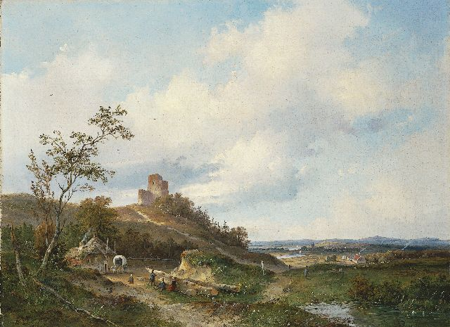 Josephus Gerardus Hans | A panoramic landscape with a ruin in the distance, oil on canvas, 51.2 x 69.0 cm, signed l.l. and dated '49