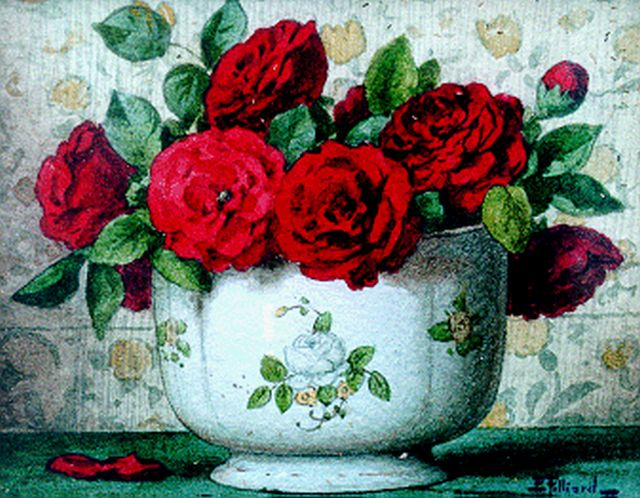Ernest Filliard | Red roses, watercolour on paper, 13.5 x 16.6 cm, signed l.r.