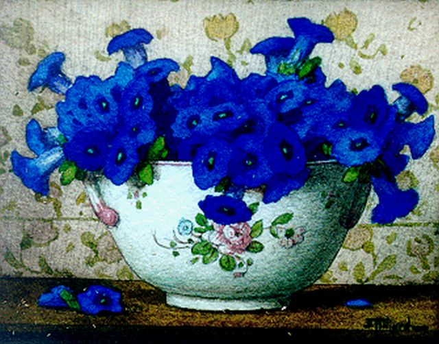 Ernest Filliard | Gentians in a bowl, watercolour on paper, 13.8 x 16.8 cm, signed l.r.
