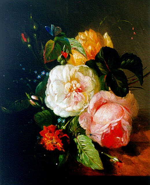 François Huygens | A flower still life on a marble ledge, oil on panel, 27.0 x 22.5 cm, signed l.c. and dated '48