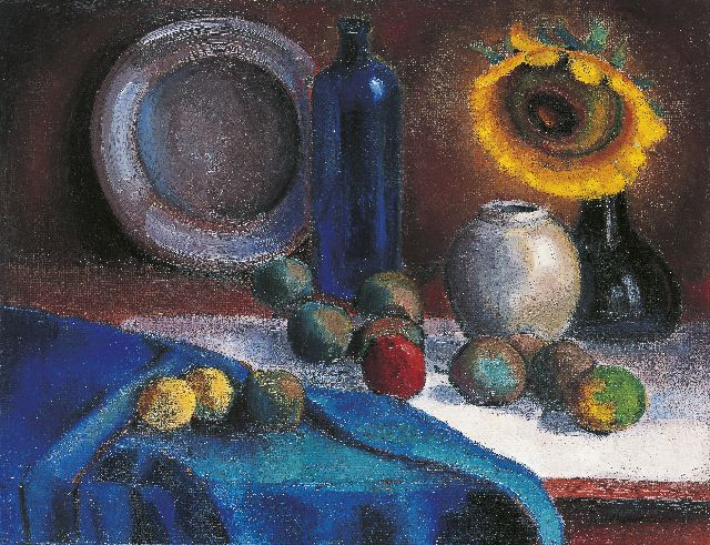 Wim Schuhmacher | Still life with sunflowers and fruit, oil on canvas, 51.5 x 66.3 cm, signed l.r. and dated 1916