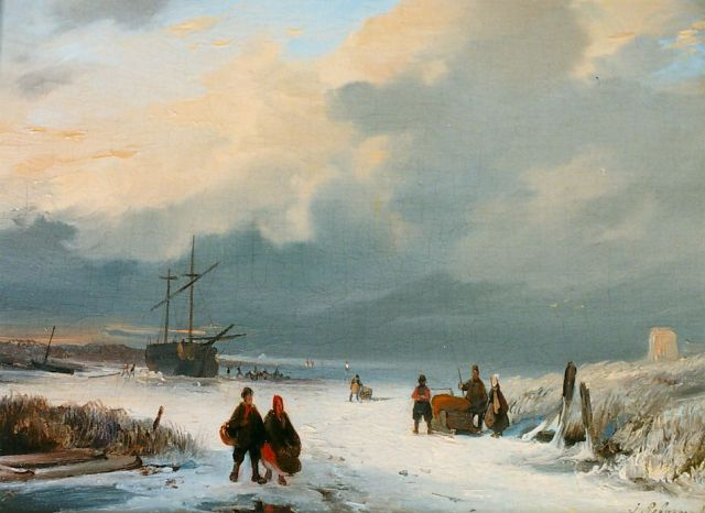 Jacobus Pelgrom | Figures on the ice, oil on panel, 14.6 x 19.5 cm, signed l.r.