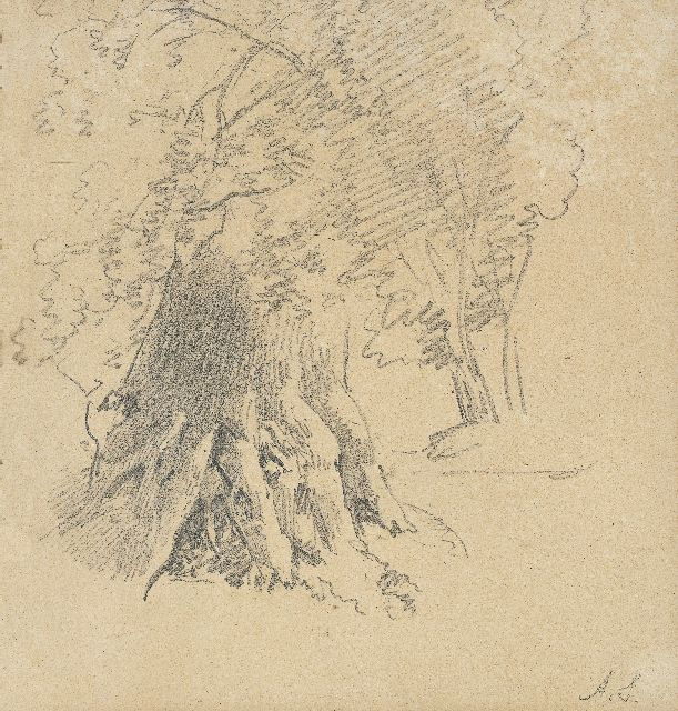Andreas Schelfhout | A study of a tree, pencil on paper, 17.9 x 17.4 cm, signed l.r. with initials
