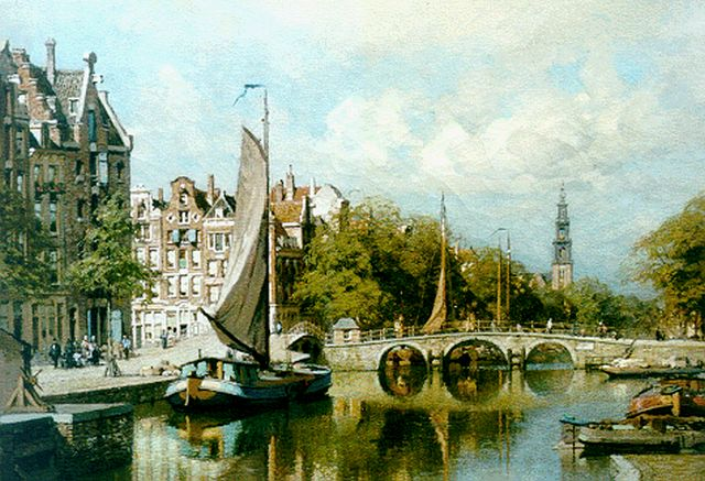 Karel Klinkenberg | Moored boats in a canal, Amsterdam, oil on canvas, 39.0 x 53.2 cm, signed l.r.