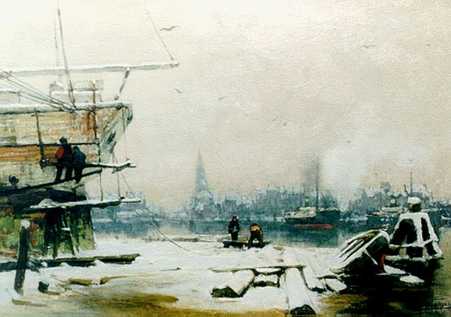Hendrik Willebrord Jansen | The harbour of Amsterdam in winter, oil on canvas, 41.6 x 57.4 cm, signed l.r.