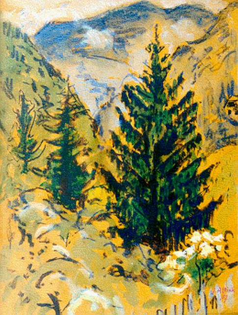 Jan Altink | Mountain landscape, gouache, watercolour and chalk on paper, 64.0 x 49.9 cm, signed l.r. and dated '57