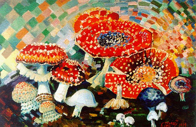Chris Lanooy | Mushrooms, oil on canvas laid down on painter's board, 33.5 x 50.5 cm, signed l.r. and dated 1919