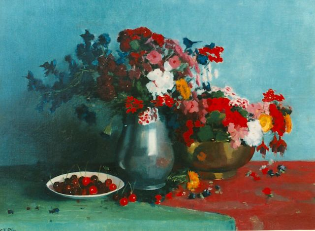 Gottfried van Pelt | A still life with flowers and cherries, oil on canvas, 56.0 x 76.0 cm, signed l.l.