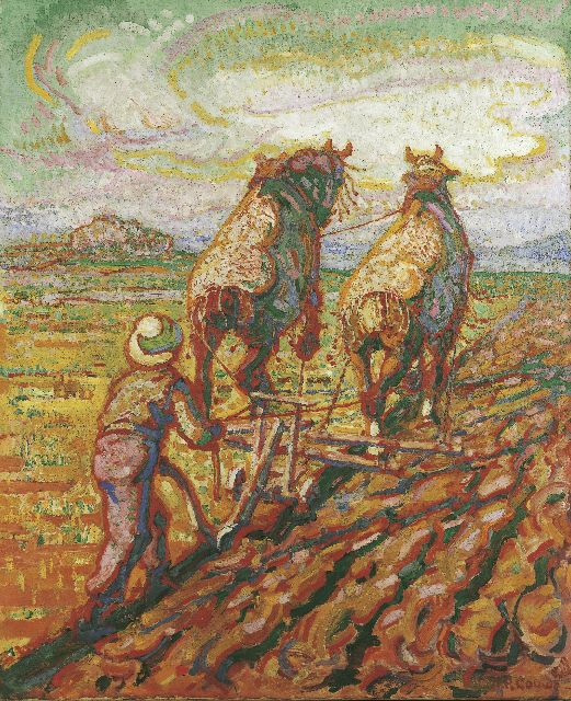 Adriaan Herman Gouwe | Ploughing horses, oil on canvas, 74.5 x 61.5 cm, signed l.r. and painted circa 1923