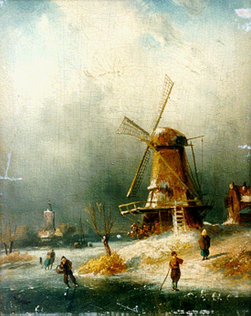 Charles Leickert | Skaters on the ice by a windmill, oil on panel, 21.2 x 15.7 cm, signed l.r.