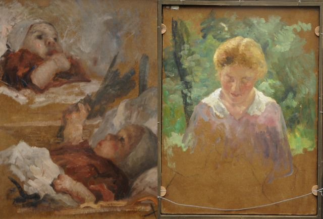 Evert Pieters | Studies of a baby; verso: young woman in a garden, oil on painter's cardboard, 49.5 x 37.0 cm