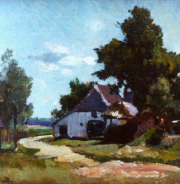 Johannes Evert Hendrik Akkeringa | A farm in a summer landscape, oil on panel, 12.1 x 12.3 cm, signed l.l. with monogram