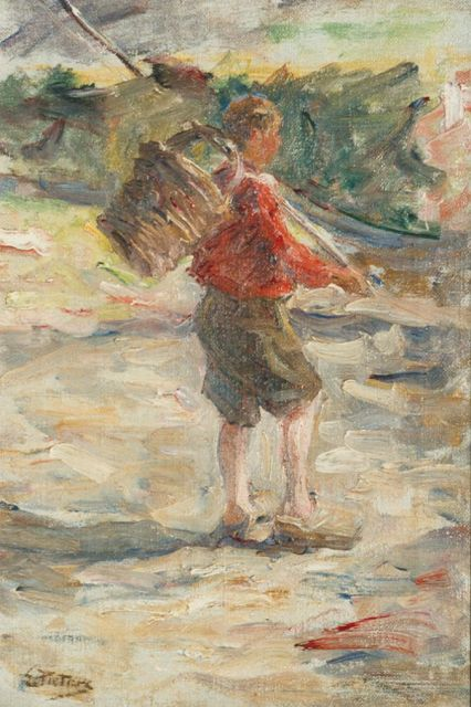 Evert Pieters | The stroller, oil on canvas, 45.5 x 30.3 cm, signed l.l.