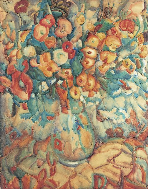 Leo Gestel | A flower still life, watercolour on paper, 99.0 x 77.8 cm, signed u.l. and dated 1917