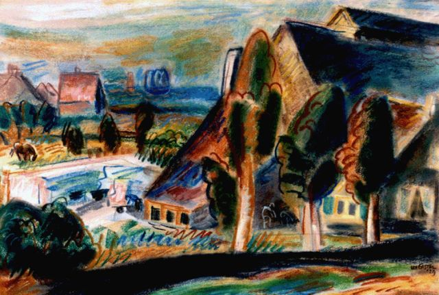 Leo Gestel | A view of a landscape, Huizen, pastel on paper, 36.3 x 54.0 cm, signed l.r. twice and dated '29