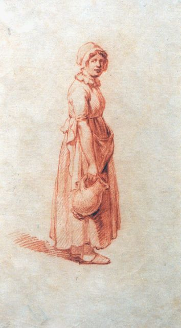 Andreas Schelfhout | A study of a farmer's wife, chalk on paper, 21.2 x 12.8 cm, signed with the monogram AS on the reverse