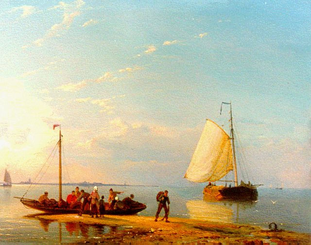 Pieter Cornelis Dommershuijzen | Shipping in a calm, oil on panel, 27.3 x 38.1 cm, signed l.l. and dated 1884